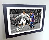 #8: Signed 12x8 Black Soccer Cristiano Ronaldo Real Madrid Lional Messi Barcelona Autographed Photo Photograph Football Picture Frame Gift A4