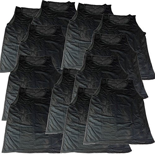 BlueDot Trading Youth Sports Pinnies 12 Scrimmage Training Vests, Black