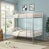 Merax Twin-Over-Twin Metal Bunk Bed in Silver Finish