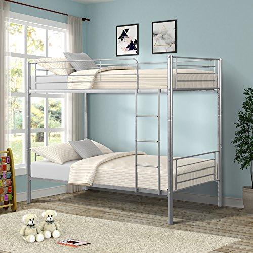 Merax Twin-Over-Twin Metal Bunk Bed in Silver (Manhattan Twin Bed)