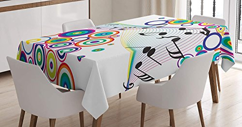 wanxinfu Music Decor Rectangular Tablecloth Music Notes Rainbow Colored Plasma Geometric Squares Circles Line Artwork Print Table Cover for Kitchen Dinning Tabletop Decoration 53x70in