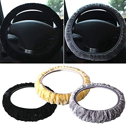 Soft Short Plush Car Steering Wheel Cover Autumn Winter Driver Driving Accessory Black lyhhai