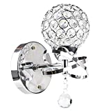 Fuloon Creative Modern Decorative Creative Crystal Spherical Wall Lamp Simple Style Light Ball (bulb not included) (Silver, 1)