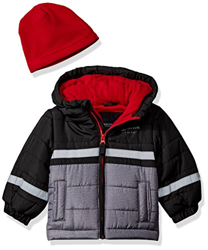 - London Fog Baby Boys Color Blocked Puffer Jacket Coat with Hat, Real Black, 24M