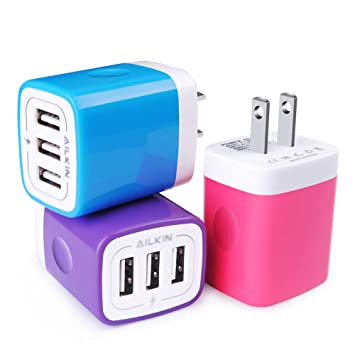 Amazon.com: Cargador de pared USB, bloque de carga, Ailkin ...