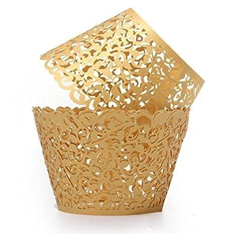 tia-ve 12pcs Filigrana vid Cake Cupcake envoltorio casos para decoración Boda Cumpleaños Baby Shower