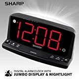 Sharp LED Digital Alarm Clock - Simple Operation - Easy to See Large Numbers, Built in Night Light, Loud Beep Alarm with Snooze, Bright Big Red Digit Display