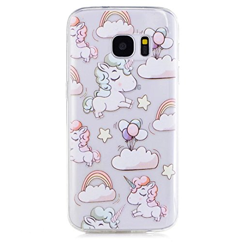 KSHOP Accessory for Samsung Galaxy S7 Case Cover Bumper Shell Soft TPU Silicone Transparent Clear Ultra Slim Skin Shell Anti-scratch Protective Bumper-Unicorn and Balloon