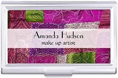 Patchwork Flowers Swirls - Pink Green Purple Card Holder Case