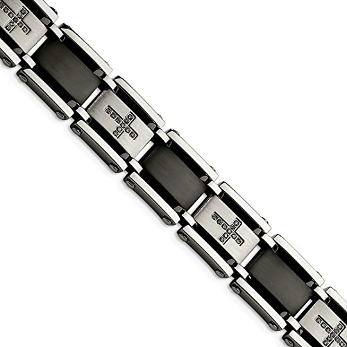 Diamond Platinum Fashion Bracelets (ICE CARATS Stainless Steel Black Plated 1/4ct. Diamond 8.75in Bracelet 8.75 Inch Man Link Men Fashion Jewelry Dad Mens Gift Set)
