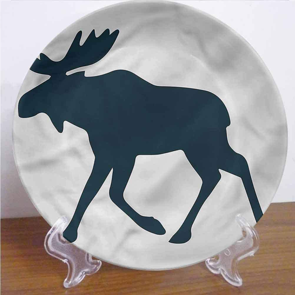Channing Southey 8 Inch Moose Ceramic Decorative Plate Wild Canadian Deer Pattern Tableware Plate Decor Accessory for Pasta, Salad,Party Kitchen Home Decor