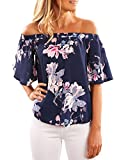 StyleDome Womens Off Shoulder Floral Print Summer Casual Fashion Blouse Tops