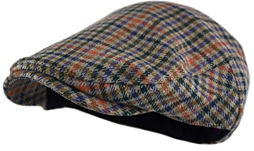 - Wonderful Fashion Men's Classic Herringbone Tweed Wool Blend Newsboy Ivy Hat (L/XL, Houndstooth Brown)