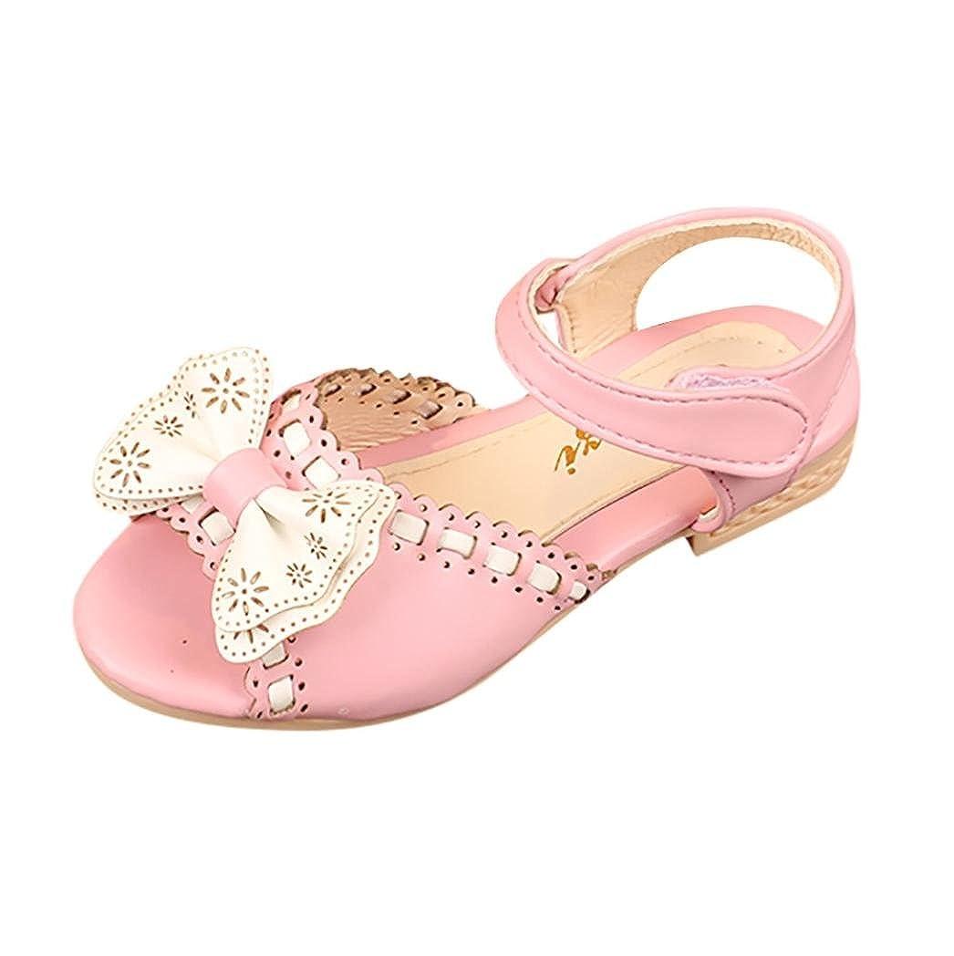 Toddler//Little Kid//Big Kid Voberry Girls Open Toe Wave Bowknot Princess Sandals