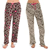 Totally Pink Woman's Warm and Cozy Plush Pajama Bottoms/Lounge Pants Two Pack (Large,Pink Leopard/Zebra)