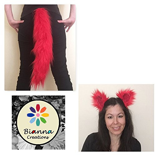 Luxury Devil Red Set: Tail and Repositionable Ears, You choose, Super Soft Faux Fur Animal Cosplay, Handmade Anime Convention Rave Costume Gear, Furry -