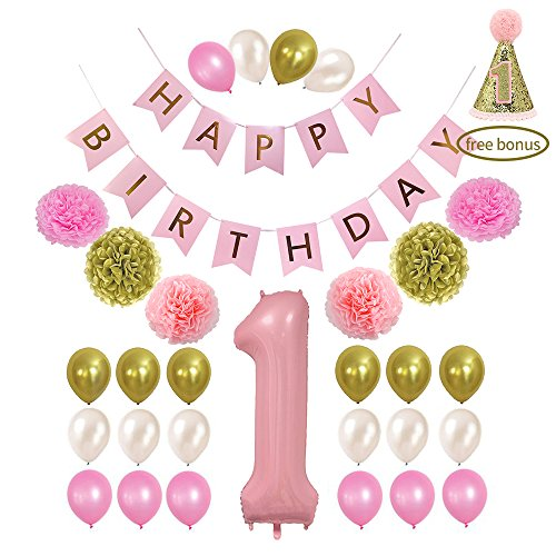 Litaus 1st Birthday Decorations, Happy Birthday Banner, 1st Baby Girl Number 1 Balloon, Pom Poms, Birthday Hat for 1st Birthday Girl Outfit, Girls Birthday