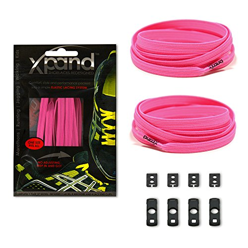 Xpand No Tie Shoelaces System with Elastic Laces - Neon Pink - One Size Fits All Adult and Kids Shoes ()