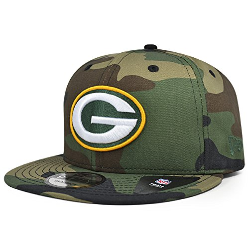 (Green Bay Packers New Era NFL Woodland Camo 9Fifty Snapback Adjustable Hat)