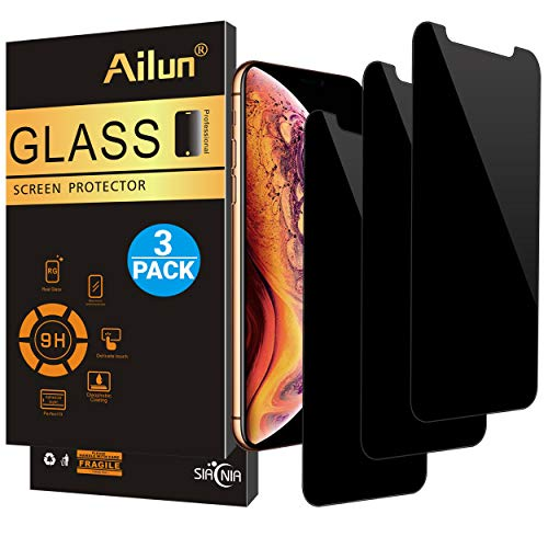 AILUN Privacy Screen Protector Compatible with iPhone X/Xs, 5.8 inch[3Pack] Anti-Spy,Anti-Glare,Tempered Glass Compatible with iPhone X/Xs,Anti-Scratch,Case Friendly