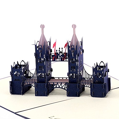 Paper Spiritz New Tower Bridge Blue Pop up Birthday Card, Anniversary Cards, Laser Cut 3D pop up card Love all Occasion, Handmade Graduation Thank You Greeting Card for Kids Baby ()
