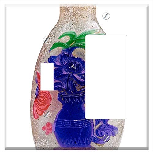 1-Toggle 1-Rocker/GFCI Combination Wall Plate Cover - Snuff Bottle Snuff Bottle Old Flower Vase Chi