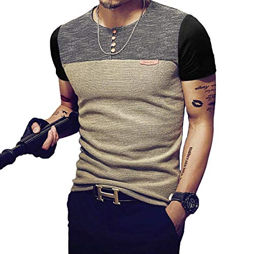 Men's Color Block Short Sleeve Tops Buttons Front Casual T Shirts Tee
