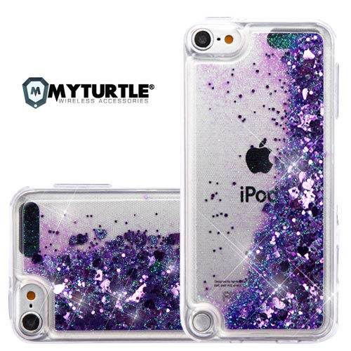 MYTURTLE iPod Touch 7th 6th 5th Generation Case Shockproof Hybrid Hard Silicone Shell Impact Cover With Screen Protector For iPod Touch 7 (2019), iPod Touch 5/6 (2015), Quicksand Purple Hearts Glitter (Cases Gen Ipod 4th Box Otter)
