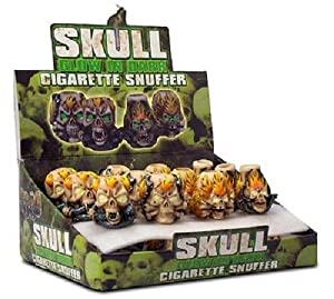 24 x Skull Glow In The Dark Tobacco Cigarette Snuffers // 4 Assorted Designs