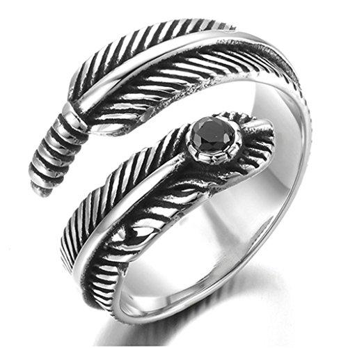[Stainless Steel Ring for Men, Feder Ring Gothic Black Band Silver Band 14MM Size 8 Epinki] (Female Ringleader Costume)