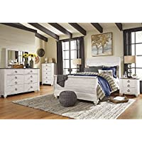 Willannet Casual Whitewash Color Wood Bed Room Set, Queen Sleigh Bed, Dresser, Mirror, Chest And Two Nightstands
