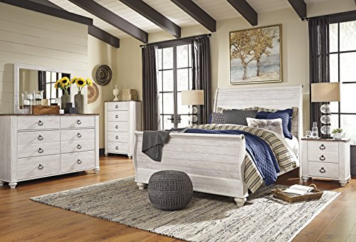 Willannet Casual Whitewash Color Wood Bed Room Set, Queen Sleigh Bed, Dresser, Mirror, Chest And Two Nightstands (Set Sleigh Brass Bed)