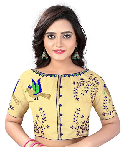Womens Banglori Silk Heavy Embroidery Work Stitched Golden Saree Blouse Crop Top