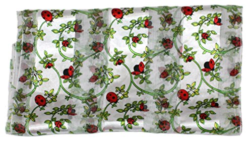 Ted and Jack - Spring Garden Helper Print Silk Feel Scarf in White Ladybug by Ted and Jack (Image #2)