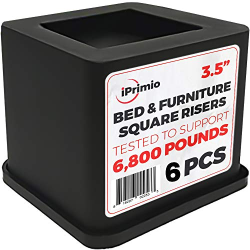- iPrimio Bed and Furniture Square Risers - Black 6Pack 3.5 INCH Size - Wont Crack & Scratch Floors - Heavy Duty Rubber Bottom - Patent Pending - Great for Wood and Carpet Surface