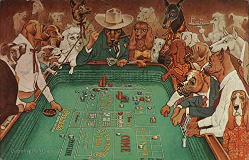 A Hot Dice Game - Dogs Playing Craps Casinos & Gambling Original Vintage Postcard from CardCow Vintage Postcards