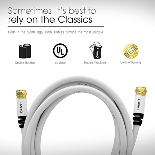 GearIt Digital Audio/Video (25 Feet/7.5 Meters)UL CL2 RG-6 F Type Gold Plated Coaxial Cable Connectors, White