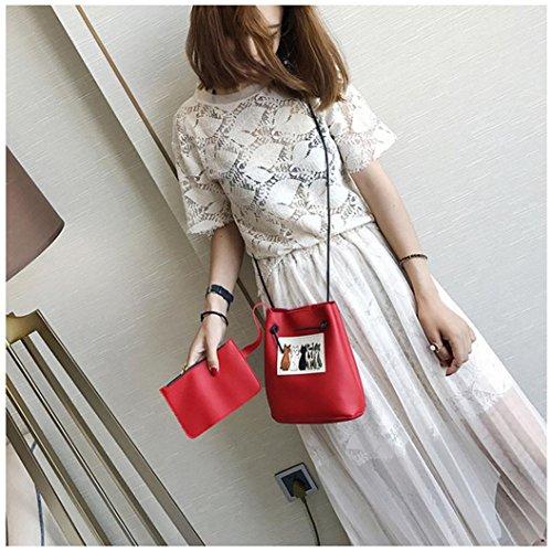 gaddrt de las mujeres Casual bolso de hombro bolsa bolsa bolso de mano 2pcs Set, diseño de piel de gato Cruz Cuerpo Bolso de mano Rojo