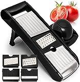 Adjustable Mandoline Slicer - Stainless Steel Vegetable Cutter, Cheese Grater & Julienne Vegetable Slicer - Compact, Veggie Slicer Kitchen Gadget Slicer Dicer