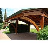 Carport Double avec Poteaux Massifs (16x16 cm), Toit en Bardeaux Bitumineux Noir ou Verts, Dimensions: 590x325cm x Hauteur 326cm