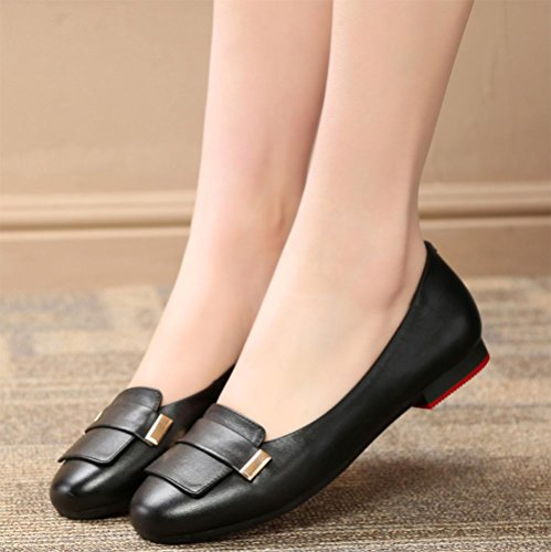 fond pois chaussures chaussures dames et simple chaussures Mme printemps chaussures plat bouche profonde Black chaussures rond d'ascenseur mou dames peu wBa8qZI