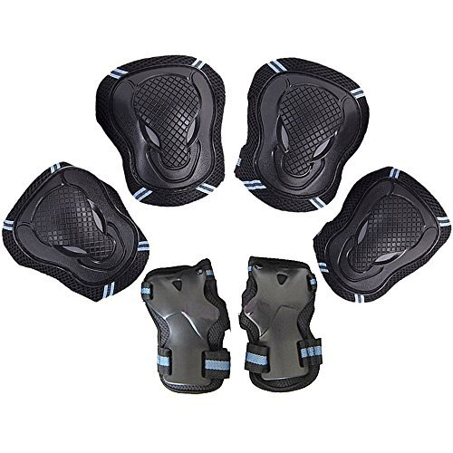 Leadpo Adult / Child Black Blue Color Knee Pads Elbow Pads Wrist Guards 3 In 1 Protective Gear Set For Multi Sports Outdoor Activities Mens Cycling Helmet by Leadpo