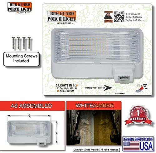 American Designed Bright RV Security Motion Porch Light 12 Volt Exterior Motion Sensor RV LED Porch Utility Light White MG1000-450W-A