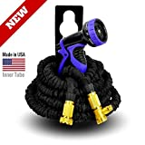 World's Strongest Expandable Garden Hose with MADE IN USA inner tube material, Garden Hose Expanding Hose Flexible Hose Water Hose Expandable Hose with 9-Settings Hose Nozzle & Hose Holder (Black, 25 ft)
