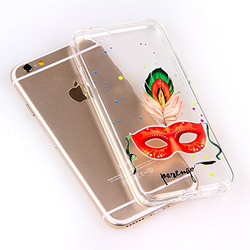 Funda para iPhone 6 Plus / 6s Plus, funda de silicona transparente para iPhone 6 Plus / 6s Plus, iPhone 6 Plus / 6s Plus Case Cover Skin Shell Carcasa Funda, Ukayfe caso de la cubierta de la caja prot Masque orange