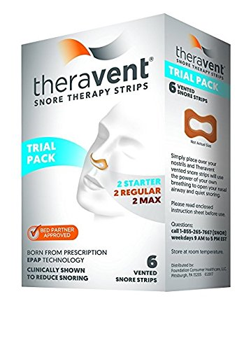 Theravent Snore Therapy Strips Trial Pack, 6 Strips each (Pack of 12) by Theravent