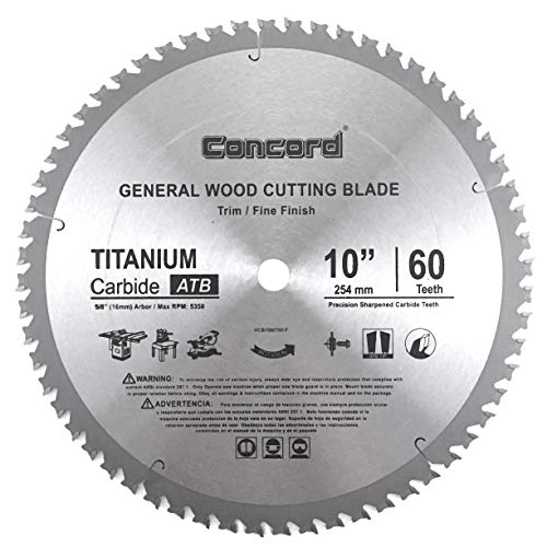 Concord Blades WCB1000T060HP 10-Inch 60 Teeth TCT General Purpose Hard & Soft Wood...