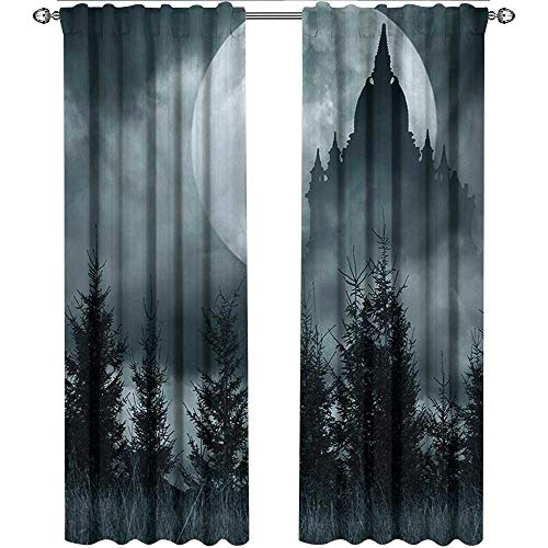 Halloween, Curtains Insulated Thermal, Magic Castle Silhouette Over Full Moon Night Fantasy Landscape Scary Forest, Curtains Kitchen Window Set, W84 x L108 Inch, Grey Pale Grey]()