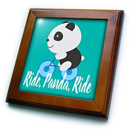 TNMGraphics Animals - Ride Panda Ride Bike Image - 8x8 Framed Tile (ft_245764_1)