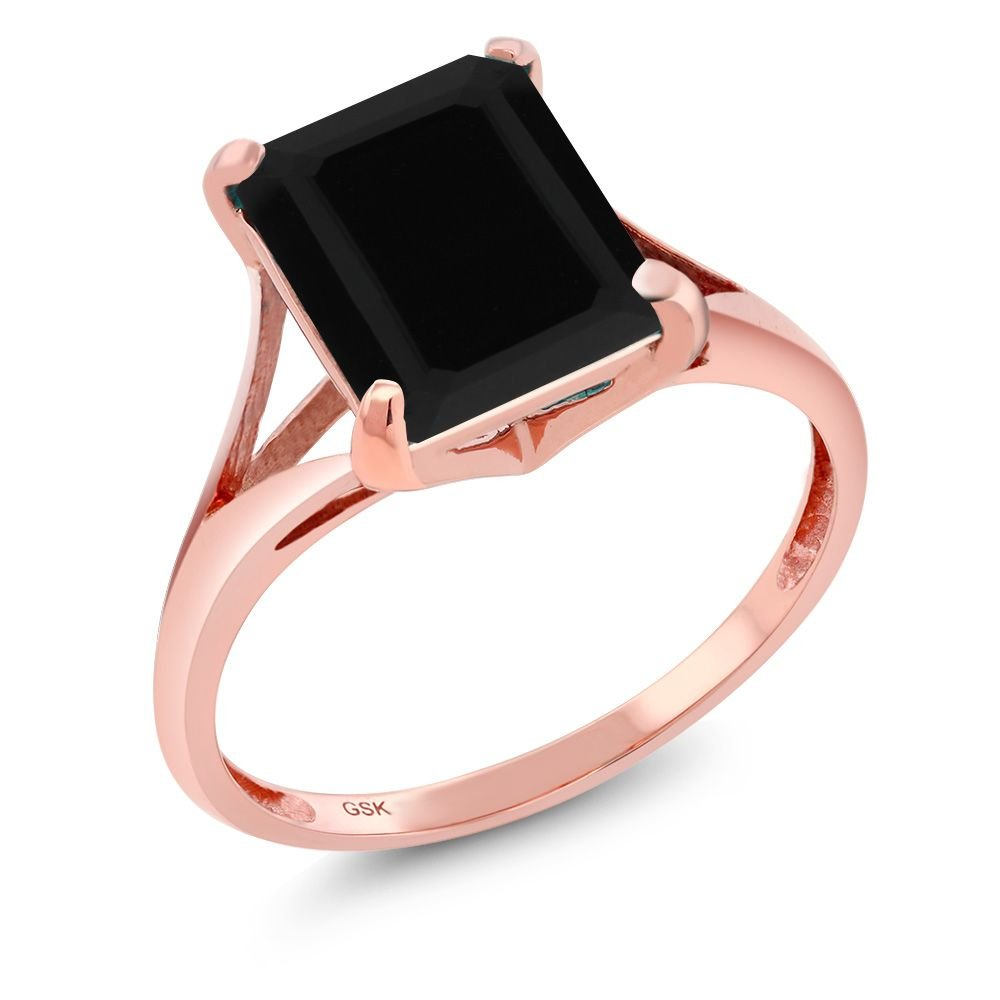 3.13 Ct Emerald Cut Black Onyx 14K Rose Gold Women's Ring (Available in size 5, 6, 7, 8, 9)